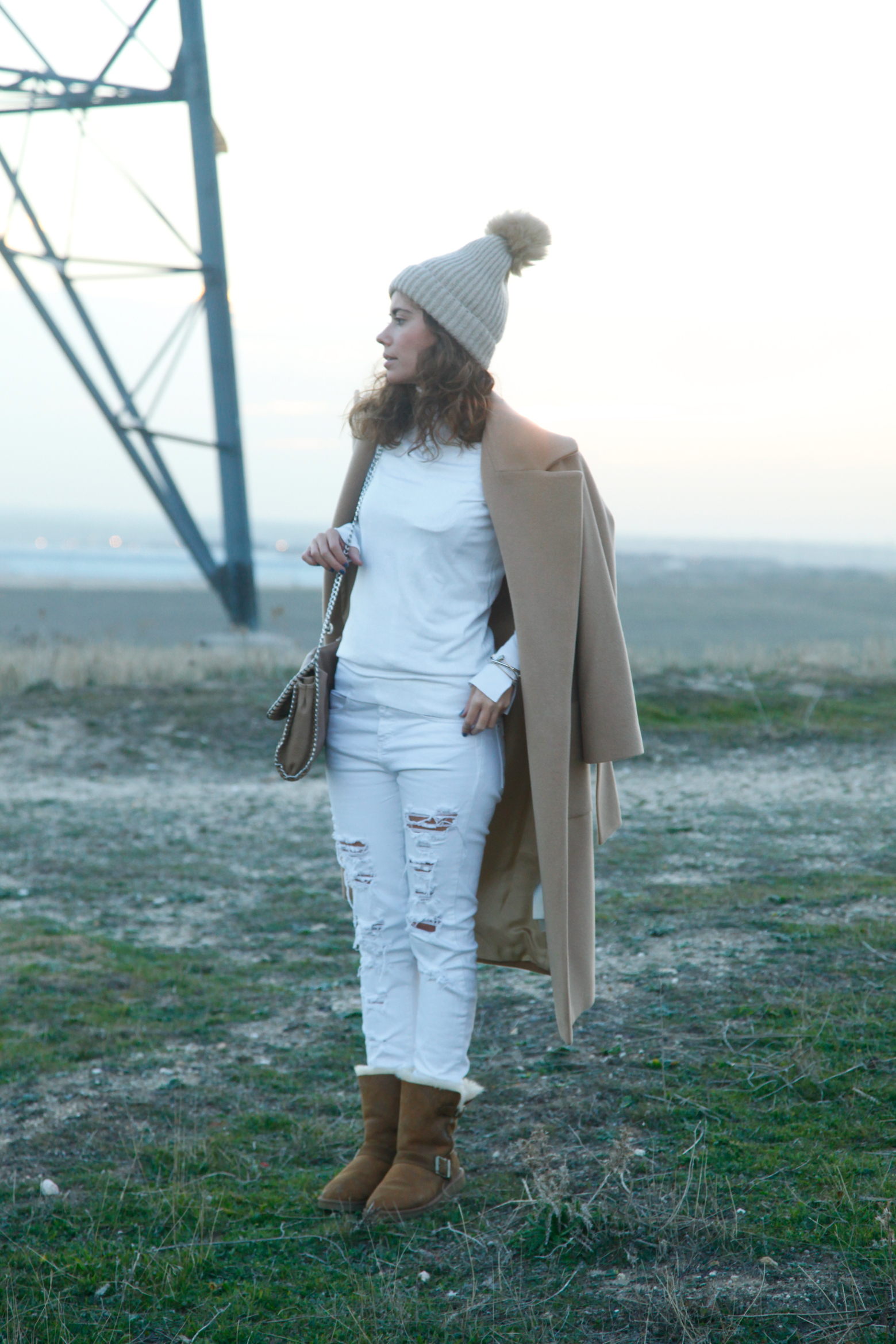 white and camel look