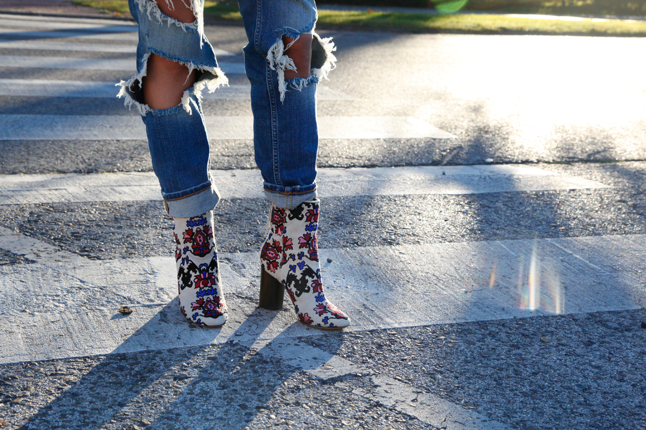 white booties, white ankle boots, ss16, isabel marant, casual look, ripped jeans, cool lemonade, fashion blog