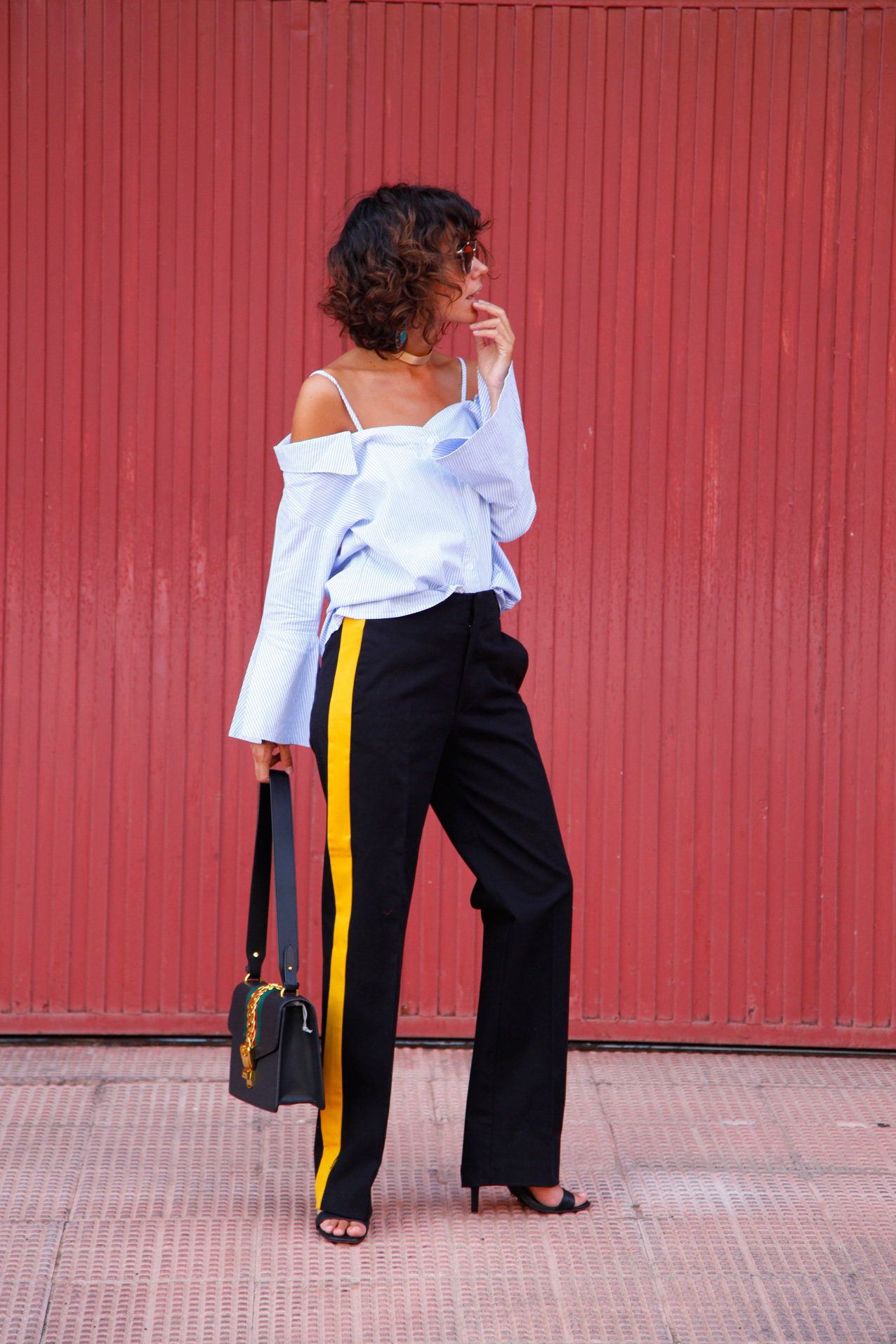 stripes_off_shoulder_top-strped_pants-cool_lemonade_streetstyle_aw16-gucci-zara